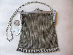 Antique Art Deco Nouveau Floral EPNS Silver Fringe Chain Mail Mesh Purse #55 #EveningBag