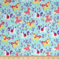 Michael Miller Unicorn Frolic Flannel Seafoam from @fabricdotcom  For Michael Miller, this flannel cotton print fabric is perfect for quilting, apparel and home decor accents. Colors include turquoise, yellow, white and shades of pink and purple.