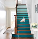 Staircase painted with a teal gradient