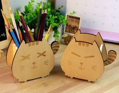 Cute Wood Sleeping Cat & Smiling Cat Pencil Pen Holders Desktop Organizers Containers Home Office Desk Accessories Free Shipping