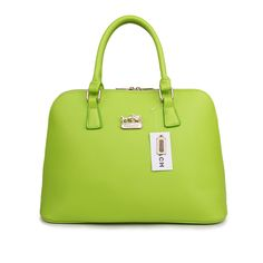 Coach City In Logo Large Green Satchels BKY