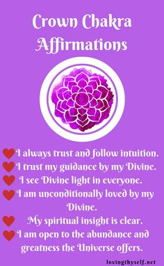 Try these affirmations daily to balance your crown chakra! this is so important for your health and preventing and illness in the future. #mind #body #soul #affirmations #help #chakra #quotes #reminder #heal #love #yourself  Wonder how to balance the rest of your chakras? Click this photo to find out!!!!  lovingthyself.net #crown