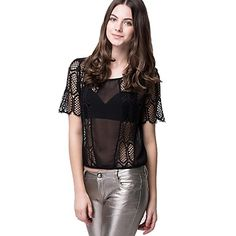 OM Women's Lace and Chiffon Boxy Top – USD $ 12.94