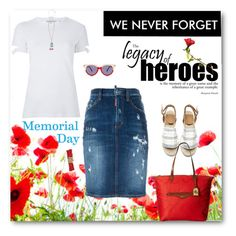 """""""Poppies for Memorial Day-We Never Forget"""" by likepolyfashion ❤ liked on Polyvore featuring Helmut Lang, Dsquared2, Tory Burch, Cara, Preen, Lauren Ralph Lauren, memorialday and fashionset"""