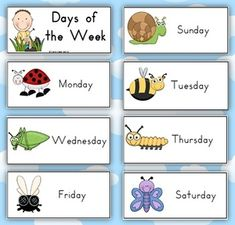 Days of the Week Mini-Beasts/Insects Theme - PDF file4 page, days of the week download from Clever Classroom. Colorful pictures of a mini-beasts with each day of the week.These easy to use cards come with the heading 'Days of the Week'.2 cards to a page.This file is now available in our first ever SUPER MEGA Pack - Classroom Organization Super Mega Pack 1150+ pagesYou might also like our:Months of the Year Cards + Seasons Poster - both hemispheres - 13 pagesOwl Themed Blank Classroom Labels…