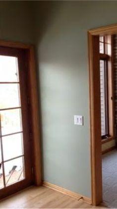 warm grey walls oak trim