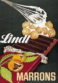 vintage Lindt hazelnut chocolate advertisement, 1937, Paul von Althaus,