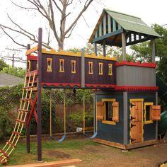 31 free diy playhouse plans to build for your kids' secret hideaway pl Kids Playhouse Plans, Castle Playhouse, Outside Playhouse, Build A Playhouse, Playhouse Outdoor, Outdoor Playset, Childrens Playhouse, Pallet Playhouse, Outdoor Toys