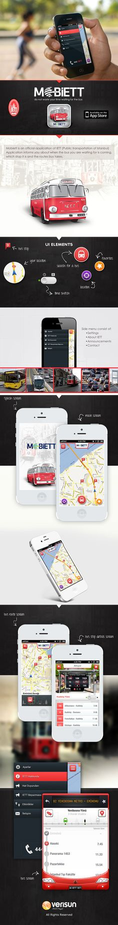 "IETT Mobiett *** ""Mobiett is an official application of IETT (Public transportation of Istanbul) Application informs you about when the bus you are waiting for is coming, which stop is it at the moment and what routes the bus takes."" by Şükrü YILDIZEL, via Behance *** #app #gui #ui #behance"