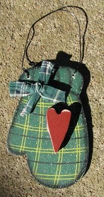 Wooden Christmas Ornament Green Mitten by nannieandbcrafts for $1.95