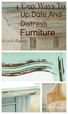 I love the look of distressed furniture but it's hard to find . Here's one of the easiest ways to create a faux patina using chalk and milk paint. Old Furniture, Refurbished Furniture, Paint Furniture, Repurposed Furniture, Shabby Chic Furniture, Furniture Projects, Furniture Makeover, Metallic Furniture, Furniture Stores