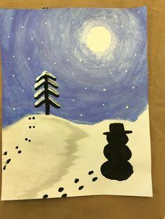 Winter night paint