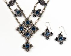 Byzantine Jewels, Melanie Potter - seed beads, faceted crystals, faux pearls, drop beads, handwoven with nylon thread and needle