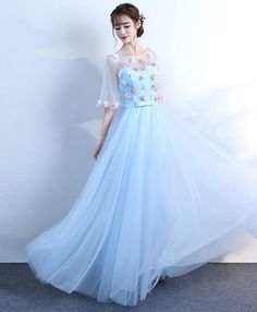 2018 cute round neck blue tulle prom dress, floor length evening gown, half sleeve prom dress