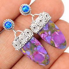 Copper Purple Turquoise 925 Sterling Silver Earrings Jewelry SE114706 | eBay