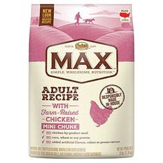 Nutro MAX Adult With Farm Raised Chicken Mini Chunk Dry Dog Food, 25 lbs.:   Now your dog's favorite NUTRO MAX Natural Dog Food comes in a smaller kibble for easy chewing. NUTRO MAX Adult Recipe With Farm Raised Chicken Mini Chunk Dry Dog Food is all natural and is formulated with added vitamins and minerals to provide complete and balanced nutrition. Your dog will love the savory flavors of real chicken and whole grains in our natural dog food, and you will like that NUTRO MAX Adult D...