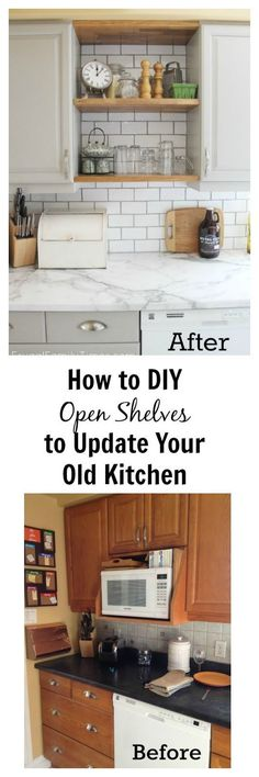 How to Add Modern Open-shelves (Kitchen Update for Way Less Cash)   Frugal Family Times