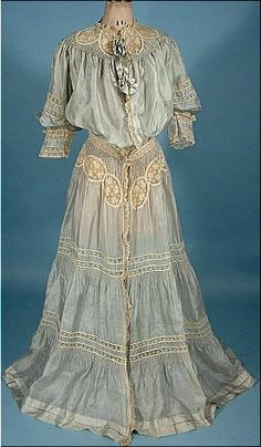 1904 Pale Blue China Silk and Ecru Lace Dressing Gown