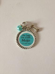 Personalized Dog ID tag,Teal, Oh CRAP, I'm lost..., phone number and pet name on Etsy, $5.50