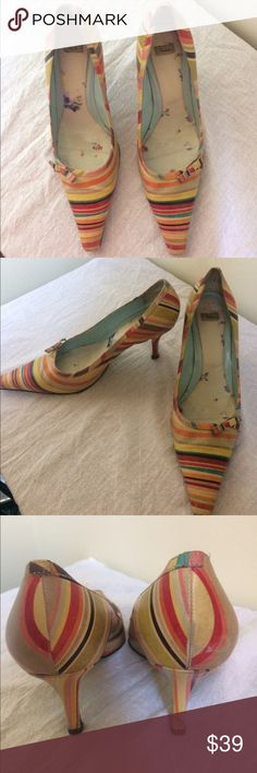 """Paul Smith multi-color swirl pumps. Paul Smith multi-color stripe classic style pumps. Size 39. Leather. Unique and fun for spring and summer. 3"""" heel. Some wear on toes and heels as shown in photos. Paul Smith Shoes Heels"""