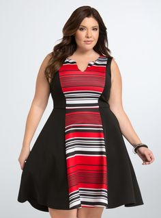 We've got a feeling these stripes will be your type. Red black and white stripes block off the front and back center panels on this stretchy and sheeny scuba dress! #fashion #spring #style