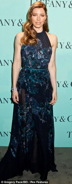 Jessica Biel in Elie Saab Ready-to-Wear A/W 2013-2014 at the Tiffany & Co. event, April 2013