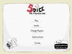 5 Dice: Order of Operations Game http://www.mathfilefoldergames.com/my-math-apps/5-dice-order-of-operations-game-app/