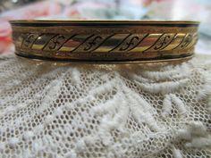Antique Enameled Bangle Bracelet in Gold Fill