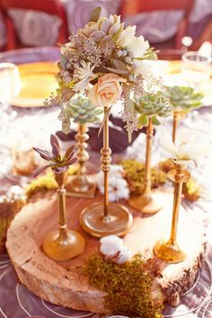 Candlestick arrangements with roses, succulents and seedheads ~(Photography by halforangephotography.com, Floral Design by unforgettablefloral.com)