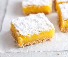 This gluten free lemon bars recipe combines a brown butter shortbread crust with a bright, creamy, lemony filling. A truly sweet and simple treat! Lemon Squares Recipe, Coconut Flour Pancakes, Shortbread Crust, Glass Baking Dish, Baking Flour, Lemon Bars, Cinnamon Rolls, Oven Recipes, Cooker Recipes