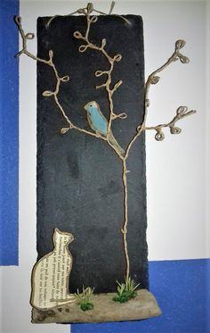 le chat et l'oiseau Sculptures Sur Fil, Wire Sculptures, Paper People, Paper Cover, Wire Art, Pebble Art, Twine, Online Art, Folk Art