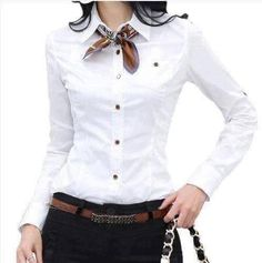 white shirt and neckerchief Mode Outfits, Casual Outfits, Fashion Outfits, Womens Fashion, Women's Casual, Mode Masculine, Office Fashion, Work Fashion, Fashion Top