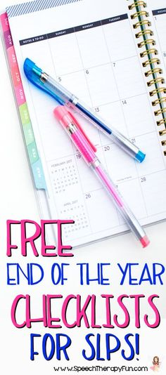Free SLP Checklists to get you through the end of the school year! Perfect for staying organized!