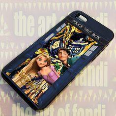 Disney Tangled On Tardis For iPhone 5/5c/5s Black Rubber Case