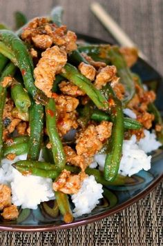 Favorite Chinese Green Beans with Ground Turkey The Weary Chef is part of Chinese green beans - This rice bowl with Chinese green beans is one of the best healthy ground turkey recipes I have tried! Ground Turkey Meal Prep, Healthy Ground Turkey, Dinner With Ground Turkey, Chinese Green Beans, Asian Green Beans, Healthy Green Beans, Chinese Greens, Asian Recipes, Healthy Recipes