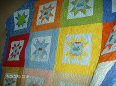 Another view of grandsons TRAINS quilt
