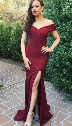 burgundy long bridesmaid dress evening dress, off the shoulder mermaid long bridesmaid dress with slit