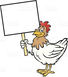Great illustration of a chicken holding a sign. Chicken Clip Art, Cartoon Chicken, Chicken Bird, All Animals Images, Chicken Illustration, Art Assignments, Free Cartoons, Border Design, Lilo And Stitch