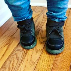 So happy to find some cute little boy boots that have Velcro (thank God for Velcro 🙌🏼) and they were on sale. Can't beat that for some #babyswag. - My kids wear through their shoes so fast it's hard to justify the larger price tags. - Wh