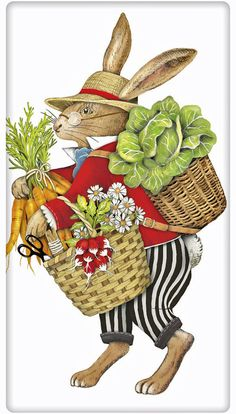 Farmer's Market Rabbit 100% Cotton Flour Sack Dish Towel Tea Towel