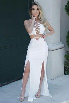 Foto Sexy Gown, Sexy Maxi Dress, Maxi Dress With Slit, Dress Up, Bodycon Dress, Stylish Dresses, Stylish Outfits, Fashion Dresses, White Shirts Women