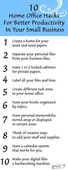 10 Home Office Hacks For Better Productivity In Your Small Business - sabrinasadminservices.com DIY home office space organized.