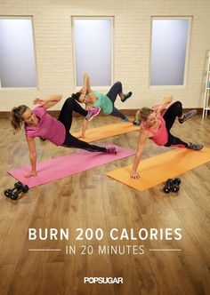 Burn 200 calories in 20 minutes with this video workout. Mix cardio moves with strength training to keep your heart rate up while building muscle. It's an at-home workout win-win.
