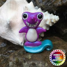 Polymer Clay Purple Shark - Cake Toppers, Jewelry Pendants, Ornaments, Figurines, Characters, Sculptures, Miniatures - Cute Collectible Whimsical - Kimmie's Clay Kreations