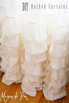 DIY: Ruffled Curtains Tutorial – she has an excellent drawing & lots of pictures showing each step. DIY: Ruffled Curtains Tutorial – she has an excellent drawing & lots of… Ruffle Curtains, Drop Cloth Curtains, Blackout Curtains, Sewing Curtains, Boho Curtains, Short Curtains, Custom Curtains, Patterned Curtains, Layered Curtains