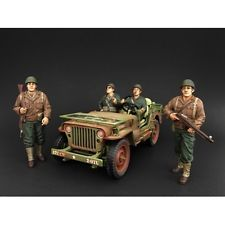 AMERICAN DIORAMA 1/18 WWII Military Army Jeep Vehicle With 4 USA Soldier Figures