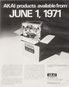 1971 ad announcing Akai's availability in the US Retro Advertising, Retro Ads, Vintage Advertisements, Vintage Ads, High Fi, E Waste Recycling, Tape Recorder, Old Computers, Music Images