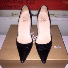 """Christian Louboutin """"New Hai 85mm"""" black pumps ~ AUTHENTIC ~ Christian Louboutin """"New Hai 85mm"""" pumps in black leather with pointed toe pumps size 39/8. Pre-loved in great condition. Christian Louboutin Shoes Heels"""