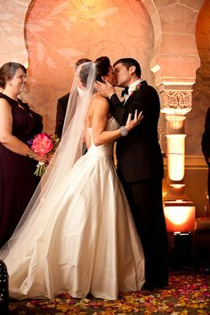 Anna and Spencer Photography. Atlanta Wedding Ceremony & Reception Venue: The Fox Theatre. Wedding Ceremony outside after dark.