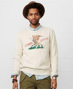 Denim & Supply Ralph Lauren Eagle Graphic Crew-Neck Pullover - Hoodies & Fleece - Men - Macy's